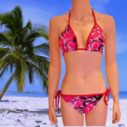 2-teiliger Bikini 12838 mit Blumenprint pink/weiß/schwarz