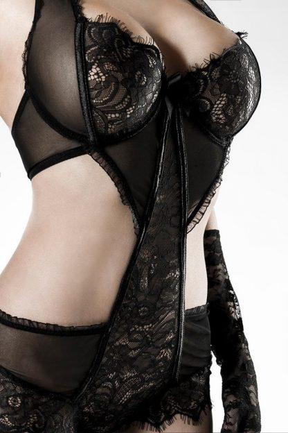 5-teiliges Spitzen-Body-Set schwarz von Grey Velvet