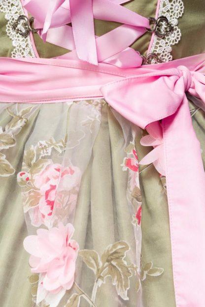 Dirndl mit Blumenschürze grün rosa von Dirndline