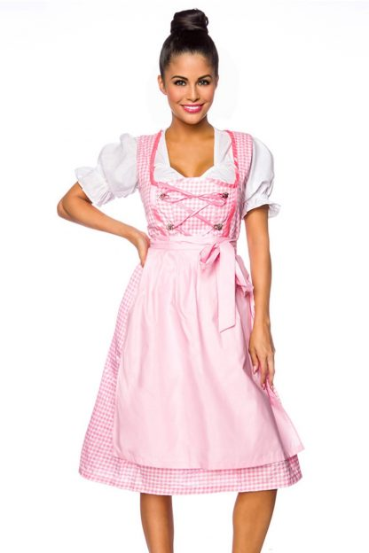 Dirndl mit Bluse und Schuerze rosa weiß kariert