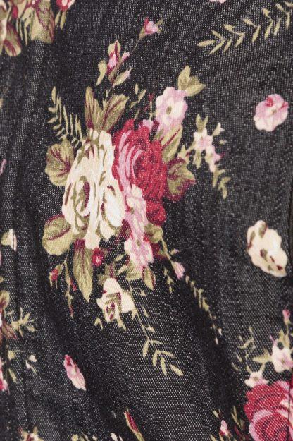 Premium Bluse & Dirndl aus edlem Denim schwarz Blumen