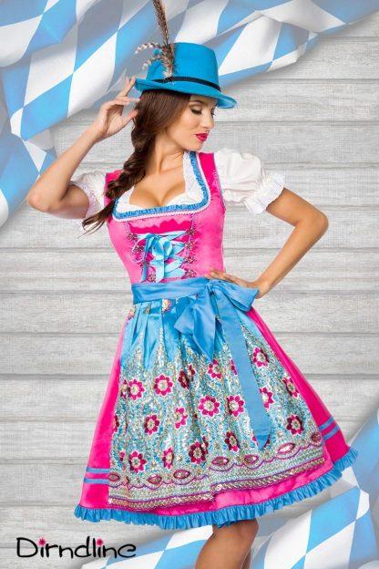 Premium Dirndl & Schürze pink blau von Dirndline