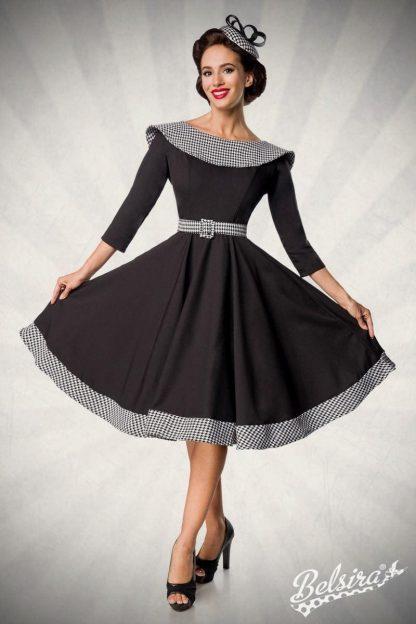 Premium Vintage langarm Swing-Kleid schwarz weiß von Belsira