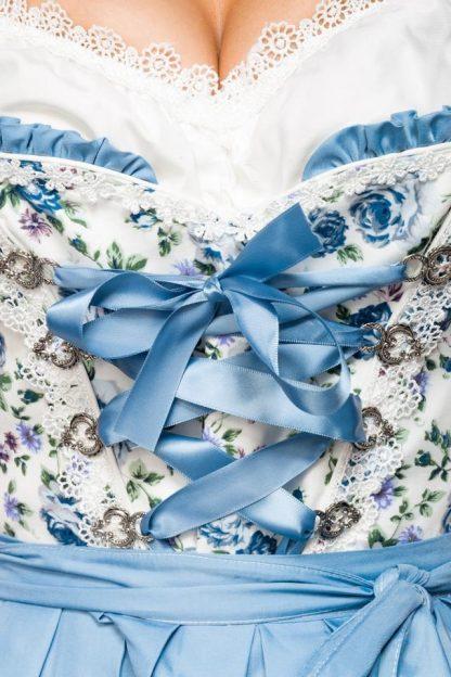 Romantisches Blümchen-Dirndl weiß blau von Dirndline