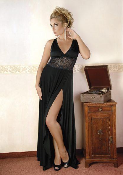 schwarzes langes Kleid M/1074 mit Spitze von Andalea