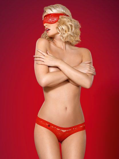 "Spitzen-Set ""822"" Panties + Maske rot von Obsessive"