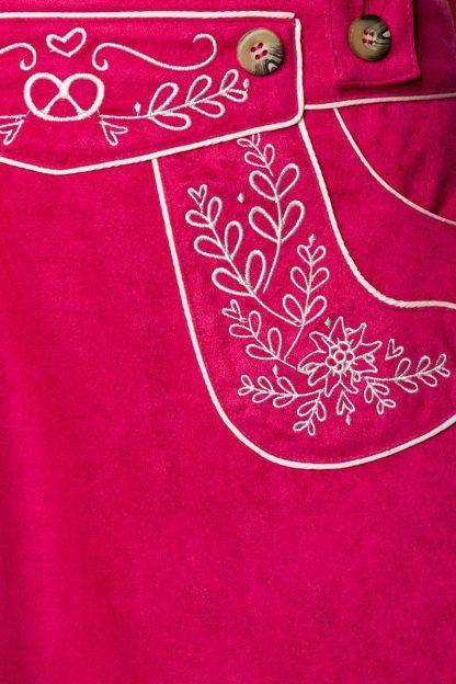 Trachten-Rock pink Veloursleder-Optik von Dirndline