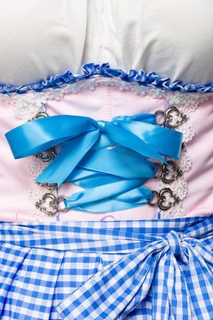 Unterbrust-Dirndl mit Karoschürze rosa blau weiß Dirndline