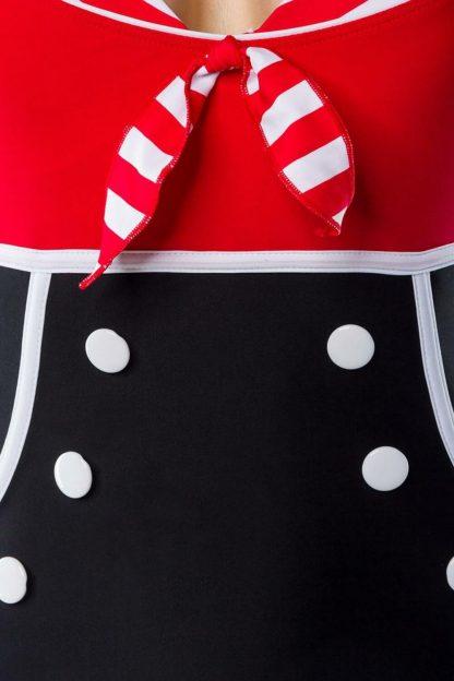 Vintage-Badeanzug rot/schwarz mit Zierschleife von Belsira