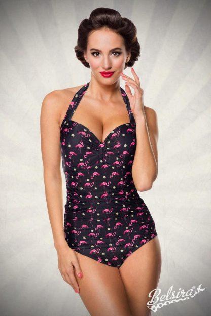 Vintage Badeanzug ❀ schwarz Flamingo Motiv von Belsira