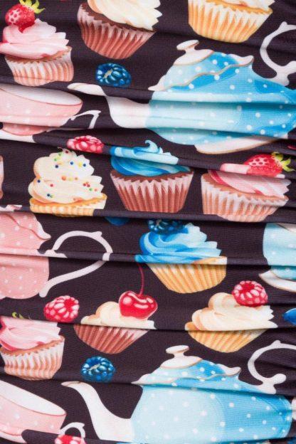 """Vintage Badeanzug schwarz mit """"Cupcakes"""" von Belsira"""