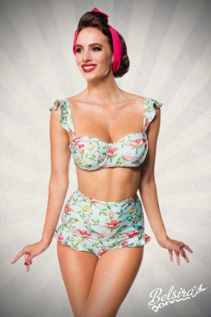 Vintage Bikini-Höschen blau pink grün Rüschen Belsira