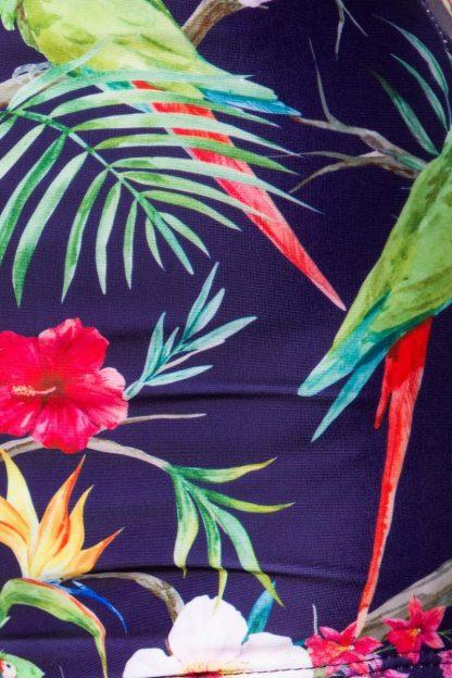 Vintage Bikini-Höschen dunkelblau gemustert Rüschen Belsira