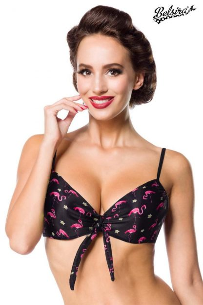 Vintage Bikini-Oberteil ⛱ Flamingo Motiv von Belsira