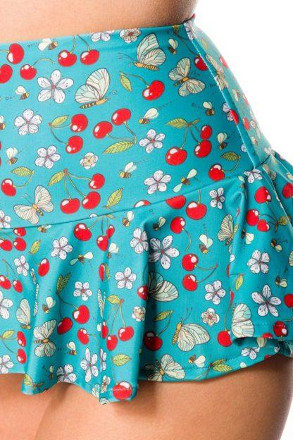 Vintage Bikini-Röckchen blau mit Kirschen von Belsira
