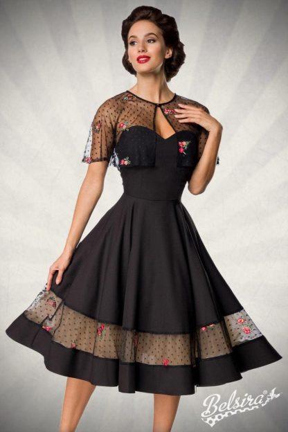 Vintage Kleid mit Cape schwarz von Belsira