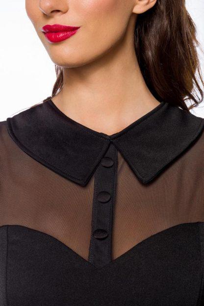 Vintage Kleid schwarz mit transparentem Oberteil von Belsira
