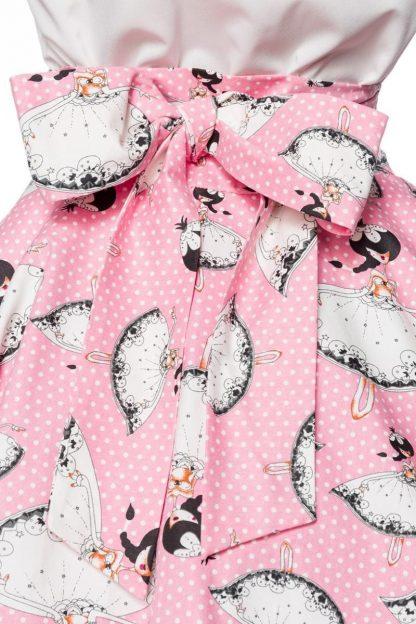 Vintage Teller-Rock rosa weiß von Belsira